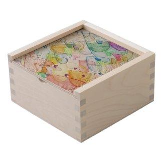 Rainbow Hearts Art Custom Wood Box Personalized