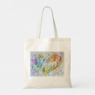 Rainbow Hearts Art Inspirational Tote Bag