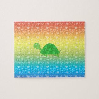 Rainbow hearts baby turtle jigsaw puzzle
