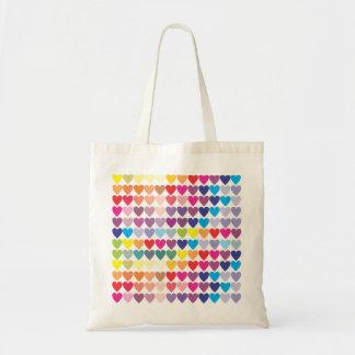 Rainbow Hearts Budget Tote Bag