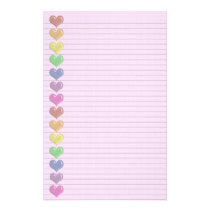 Rainbow Hearts Border optional lines stationery