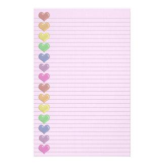 Rainbow Hearts Border optional lines stationery