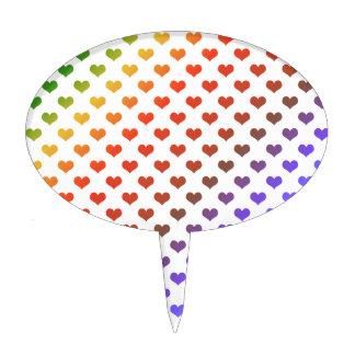 Rainbow hearts cake topper