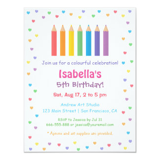 Rainbow Hearts Colouring Pencils Arts Birthday Card