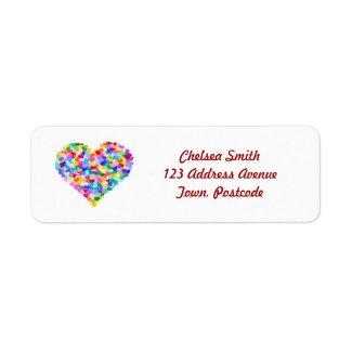 Rainbow Hearts Confetti Labels