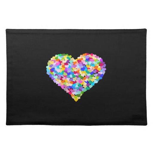 Rainbow Hearts Confetti Place Mats