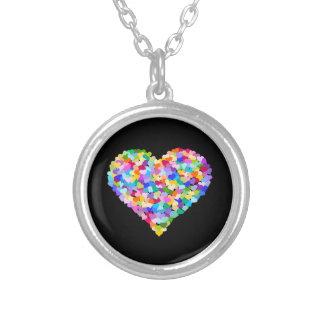 Rainbow Hearts Confetti Round Pendant Necklace