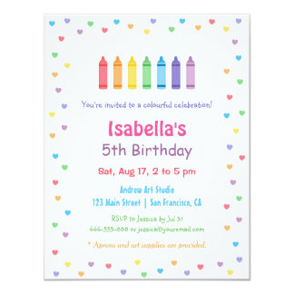 Rainbow Hearts Crayons Arts Crafts Birthday Party 4.25x5.5 Paper Invitation Card