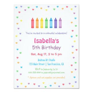 "Rainbow Hearts Crayons Arts Crafts Birthday Party 4.25"" X 5.5"" Invitation Card"