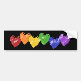 Rainbow Hearts Drk Bumper Sticker