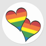 Rainbow Hearts Embracing Classic Round Sticker