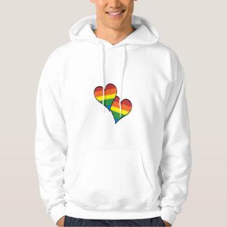 Rainbow Hearts Embracing Hoodie