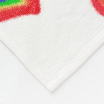 Rainbow hearts fleece blanket