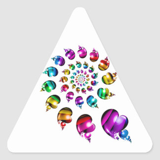 Rainbow Hearts Gay LGBT Triangle Sticker (White)