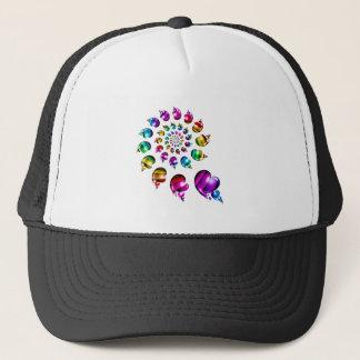 Rainbow Hearts Gay Pride LGBT Hat (White Black)