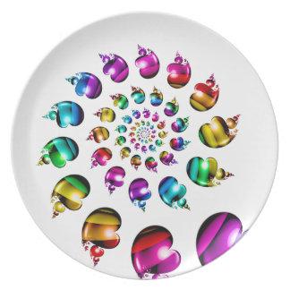 Rainbow Hearts Gay Pride LGBT Melamine Plate White