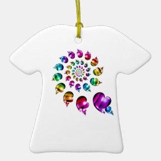 Rainbow Hearts Gay Pride LGBT Ornament (White)