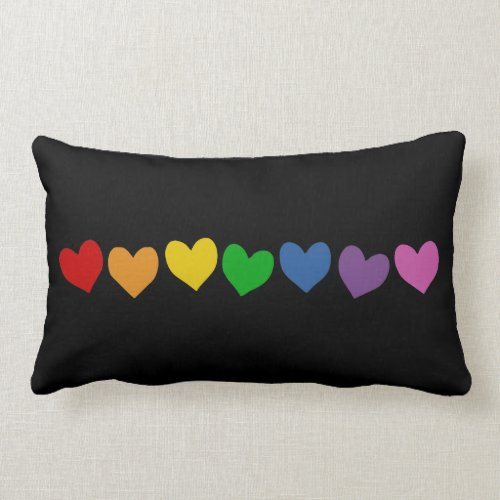 RAINBOW HEARTS GAY PRIDE THROW PILLOW