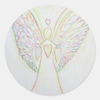 Rainbow Hearts Guardian Angel Art Custom Stickers