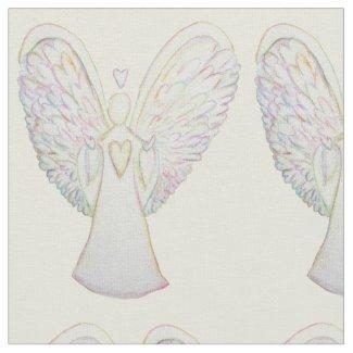 Rainbow Hearts Guardian Angel Art Fabric Material