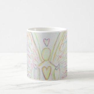 Rainbow Hearts Guardian Angel Coffee Cup or Mug