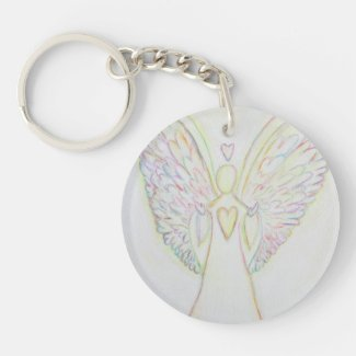 Rainbow Hearts Guardian Angel Custom Keychain