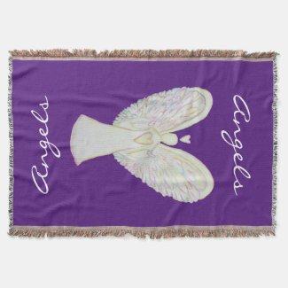 Rainbow Hearts Guardian Angel Custom Throw Blanket