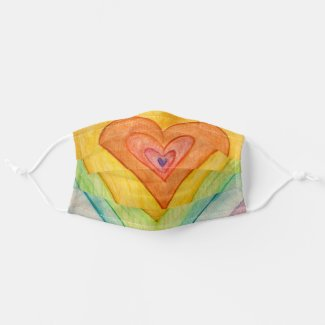 Rainbow Hearts Inspirational Art Custom Face Masks