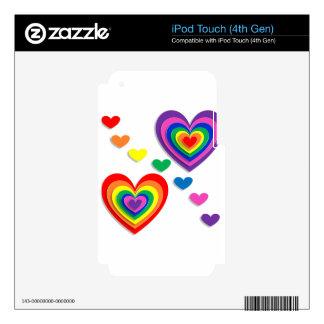 Rainbow Hearts iPod Touch 4G Skin