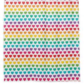 Rainbow hearts.jpg shower curtain