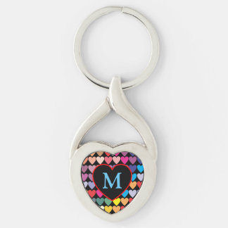 Rainbow Hearts Keychain