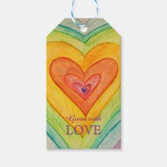 Rainbow Hearts Love Custom Card Gift Tags
