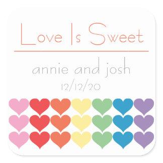 Rainbow Hearts Love Is Sweet Labels (Orange)