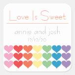 Rainbow Hearts Love Is Sweet Labels (Orange) Square Sticker