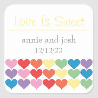 Rainbow Hearts Love Is Sweet Labels (Yellow) Square Stickers