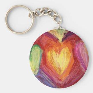 Rainbow Hearts Love Pendant Keychain Charm