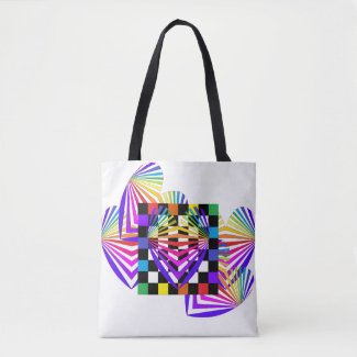 Rainbow Hearts Love Summer Colorful Totes