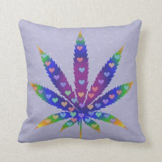 Rainbow Hearts Marijuana Leaf Throw Pillow