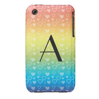 Rainbow hearts monogram Case-Mate iPhone 3 cases