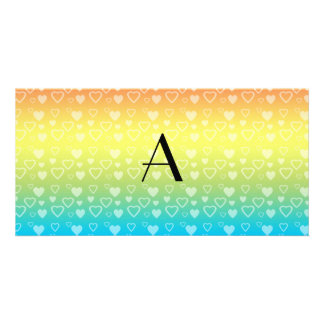 Rainbow hearts monogram picture card