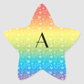 Rainbow hearts monogram star sticker