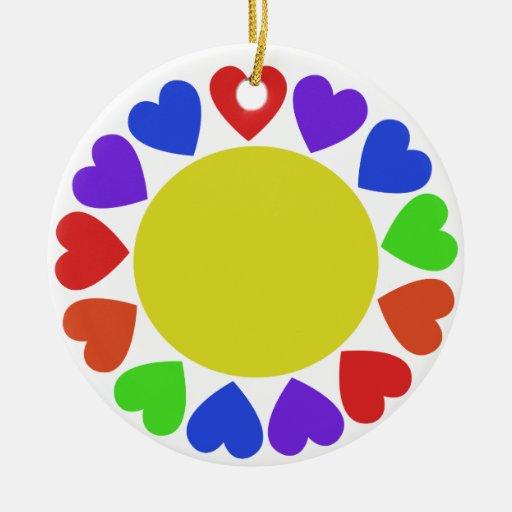 Rainbow Hearts Double-Sided Ceramic Round Christmas Ornament
