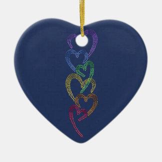 Rainbow Hearts Ornament