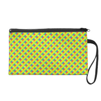 Rainbow hearts pattern on lime yellow wristlet clutches