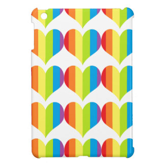 Rainbow hearts pattern on white iPad mini cover