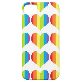 Rainbow hearts pattern on white iPhone SE/5/5s case