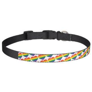 Rainbow Hearts Pattern Pet Collar