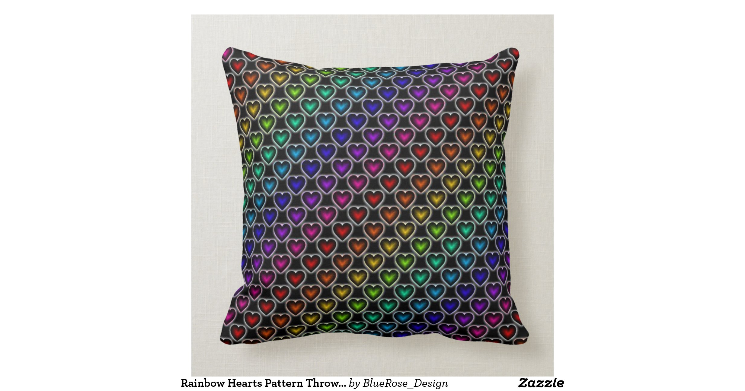 Throw Pillow Design Patterns : Rainbow Hearts Pattern Throw Pillow Zazzle