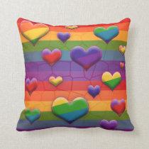 Rainbow Hearts Pattern Throw Pillow