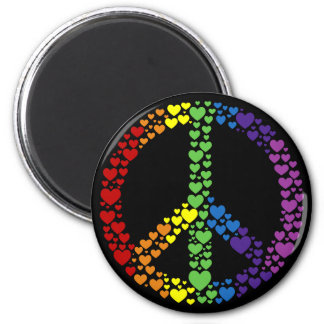 Rainbow Hearts Peace Sign Magnet